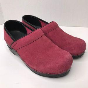 Sanita Pink Suede Clog Slip On Shoe Size 38 7-7.5